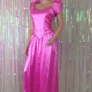 4e6bf4c1a3b88 Vintage Dresses | Vtg Pink 80s Prom Dress Bows Puffy Sleeves Ugly ...